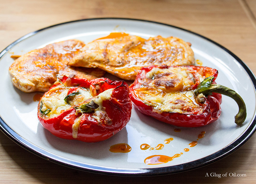 Cheese Tomato and Spinach Stuffed Peppers