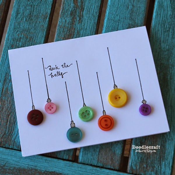 Doodlecraft: Button Ornament Christmas Cards!