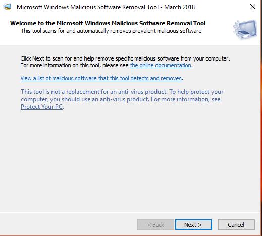 malicius software remover tool