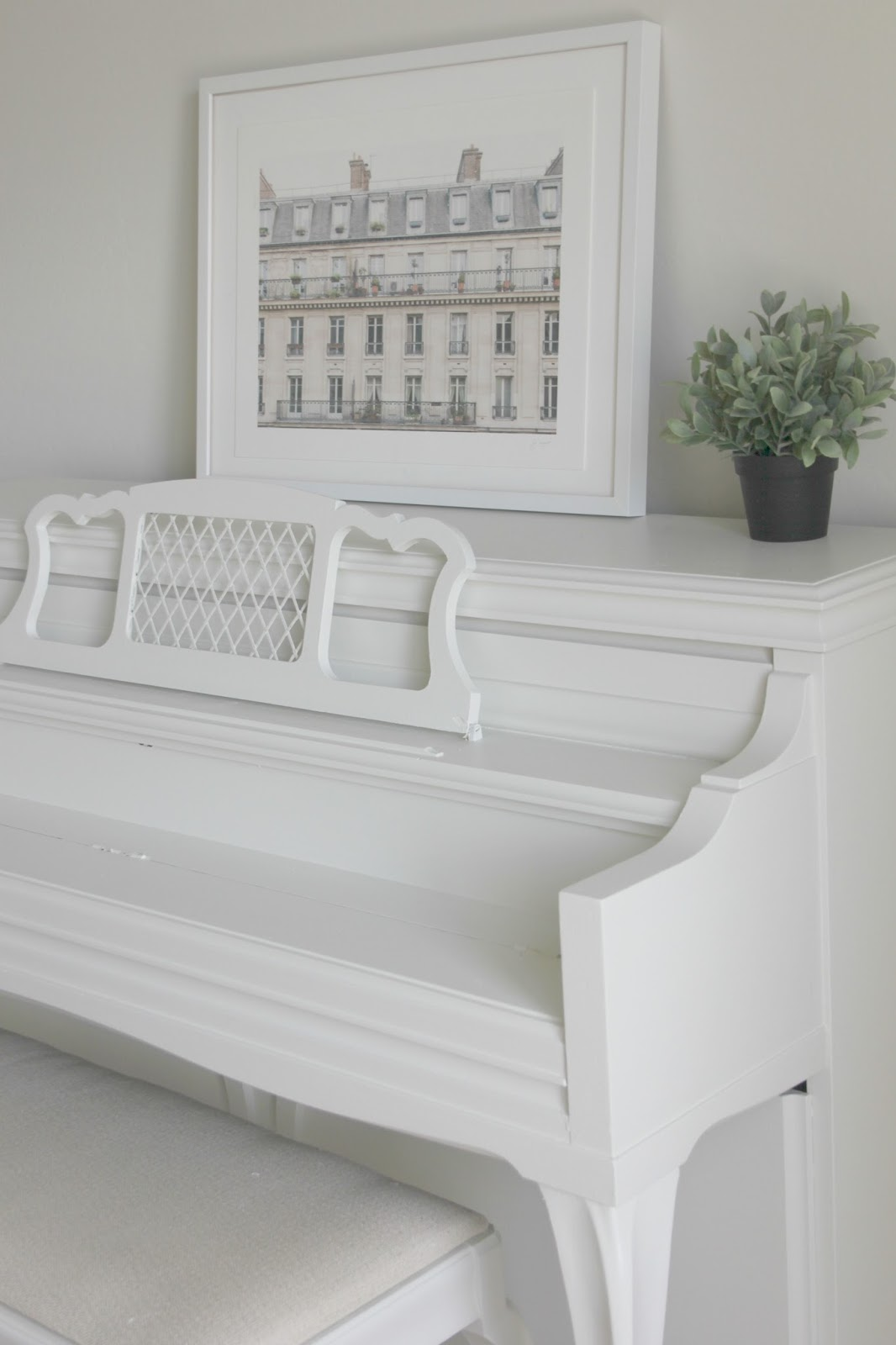Vintage piano painted white by Hello Lovely Studio