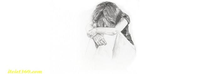 Ảnh bìa Facebook thất tình - Cover FB timeline lost love, cô gái ngồi khóc 1 mình