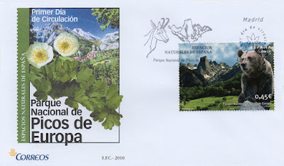 Sobre PDC del sello del Parque Natural de los Picos de Europa. Matasellos de Madrid