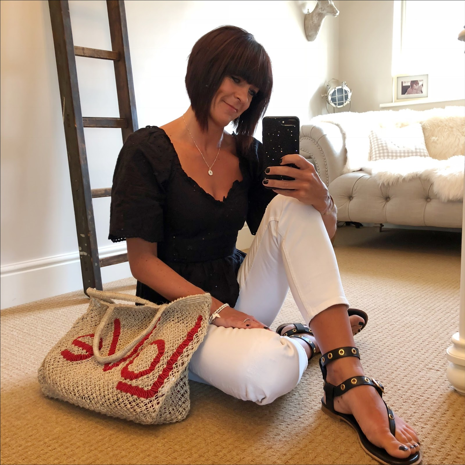 my midlife fashion, h and m embroidered top, zara cropped distressed boyfriend white jeans, iro embellished eyelet leather sandals, the jacksons love jute bag