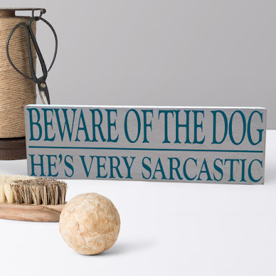 Beware of the Dog - fun personalised wooden sign for dog owners!