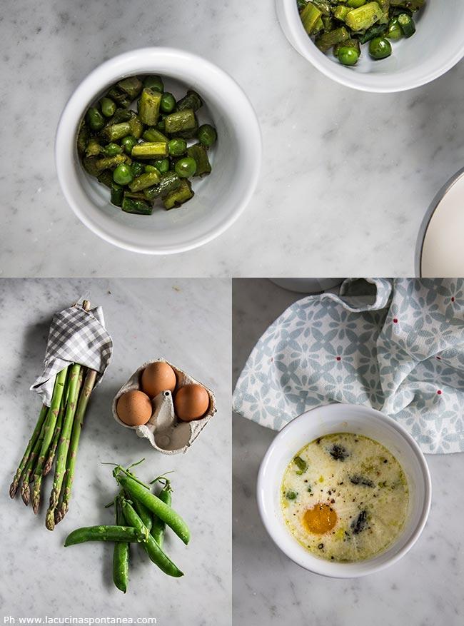 Uova in cocotte con asparagi e piselli passaggi