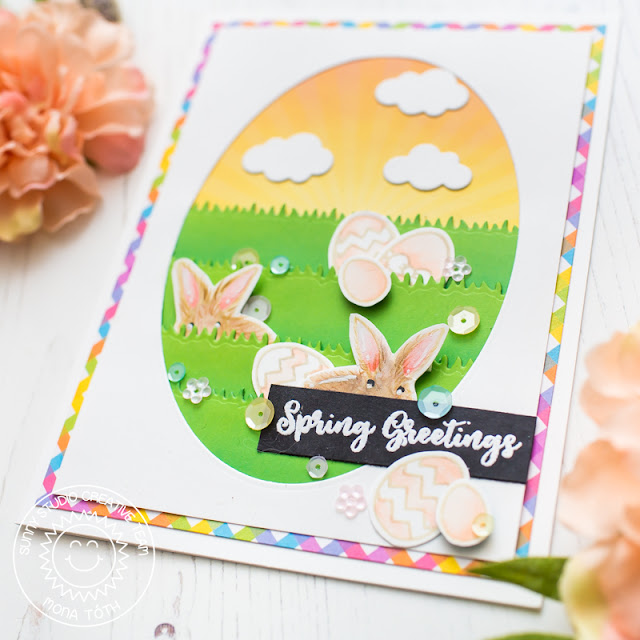 Sunny Studio Stamps: Spring Greetings Stitched Ovals Spring Themed Card by Mona Toth