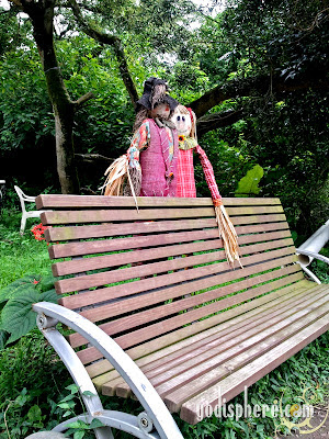Two scarecrows on bench