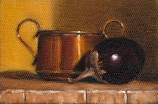 Oil painting of an eggplant beside a small copper pot.