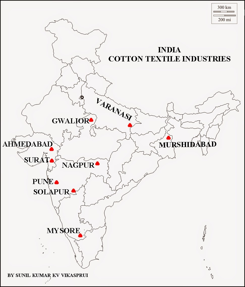 Geography and We: MAP WORK COTTON TEXTILE INDUSTRIES