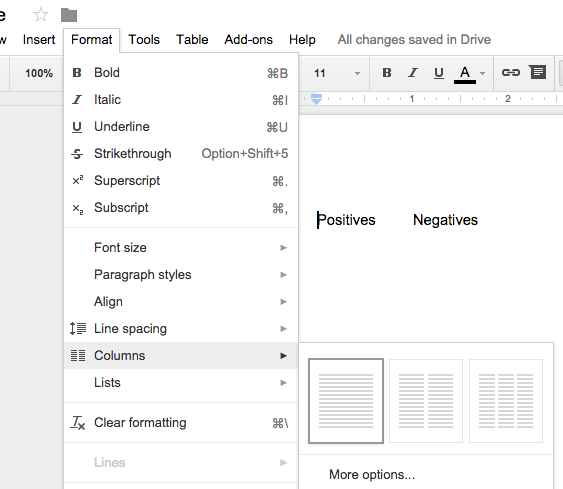 how to add column to table google docs