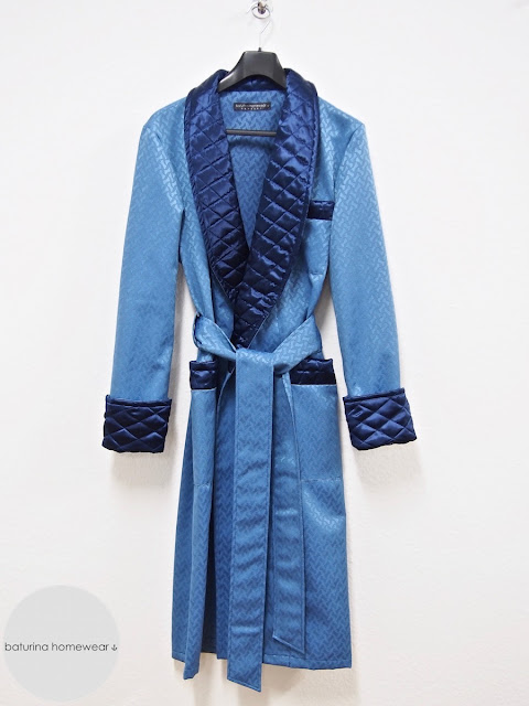 Men's blue silk robe dressing gown quilted full length