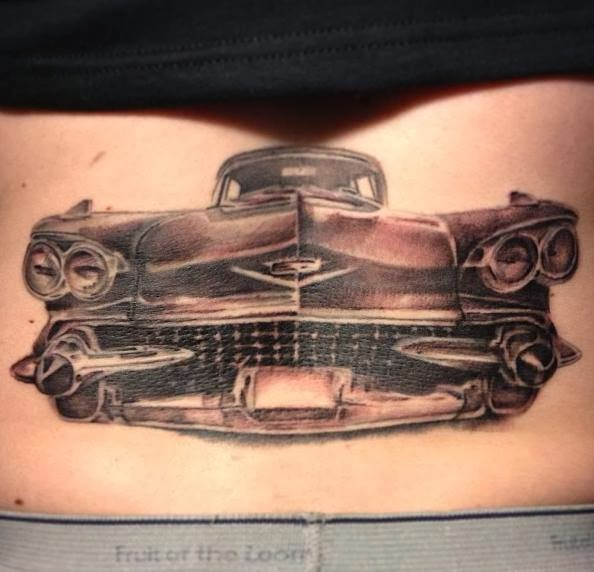Tattoos Designs, Pictures And Ideas: Grey Ink Car Tattoo