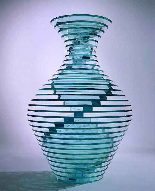 1990 blue art glass, large photograph