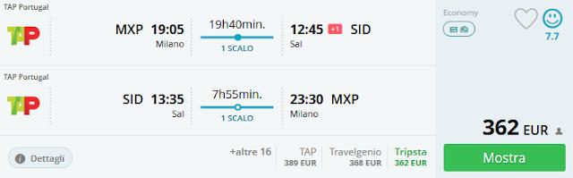 Milano (MXP) - Sal (Capo Verde) a/r a 362 €
