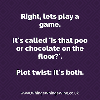 Right, let's play a game. It's called 'is that poo or chocolate on the floor?'. Plot twist: It's both