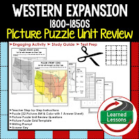 Western Expansion Picture Puzzle,  TEST PREP, UNIT REVIEWS, TEST REVIEWS, and STUDY GUIDES