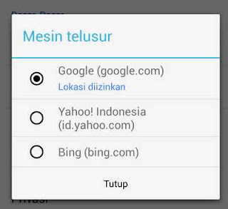 setting mesin telusur