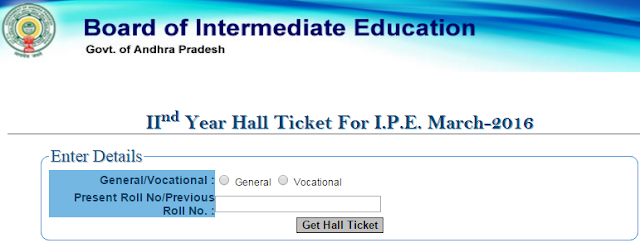 Telangana Sr Inter Hall Ticket 2016