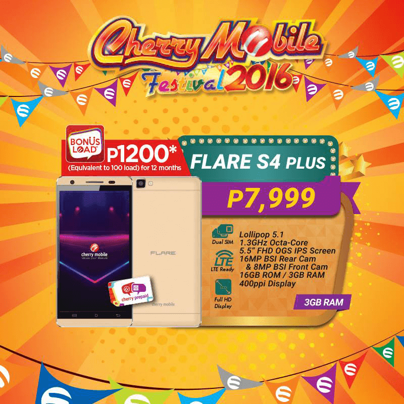 Flare S4 Plus Cherry Prepaid Load 1,200 Pesos