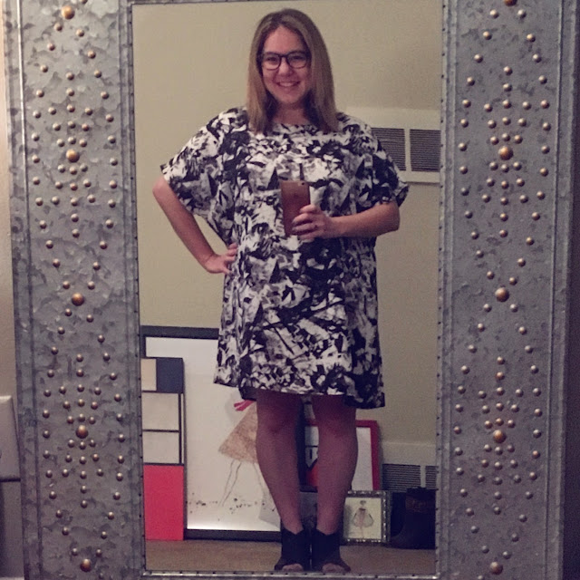 JustFab, Noisy May Shattered Print Tunic Dress, ASOS, Free People open toe booties, Jamie Allison Sanders, Senior Copywriter, first day of work