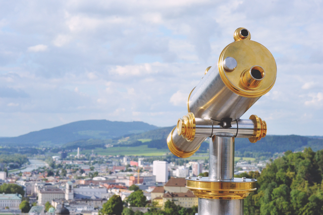View of Salzburg from Hohensalzburg Fortress Telescope