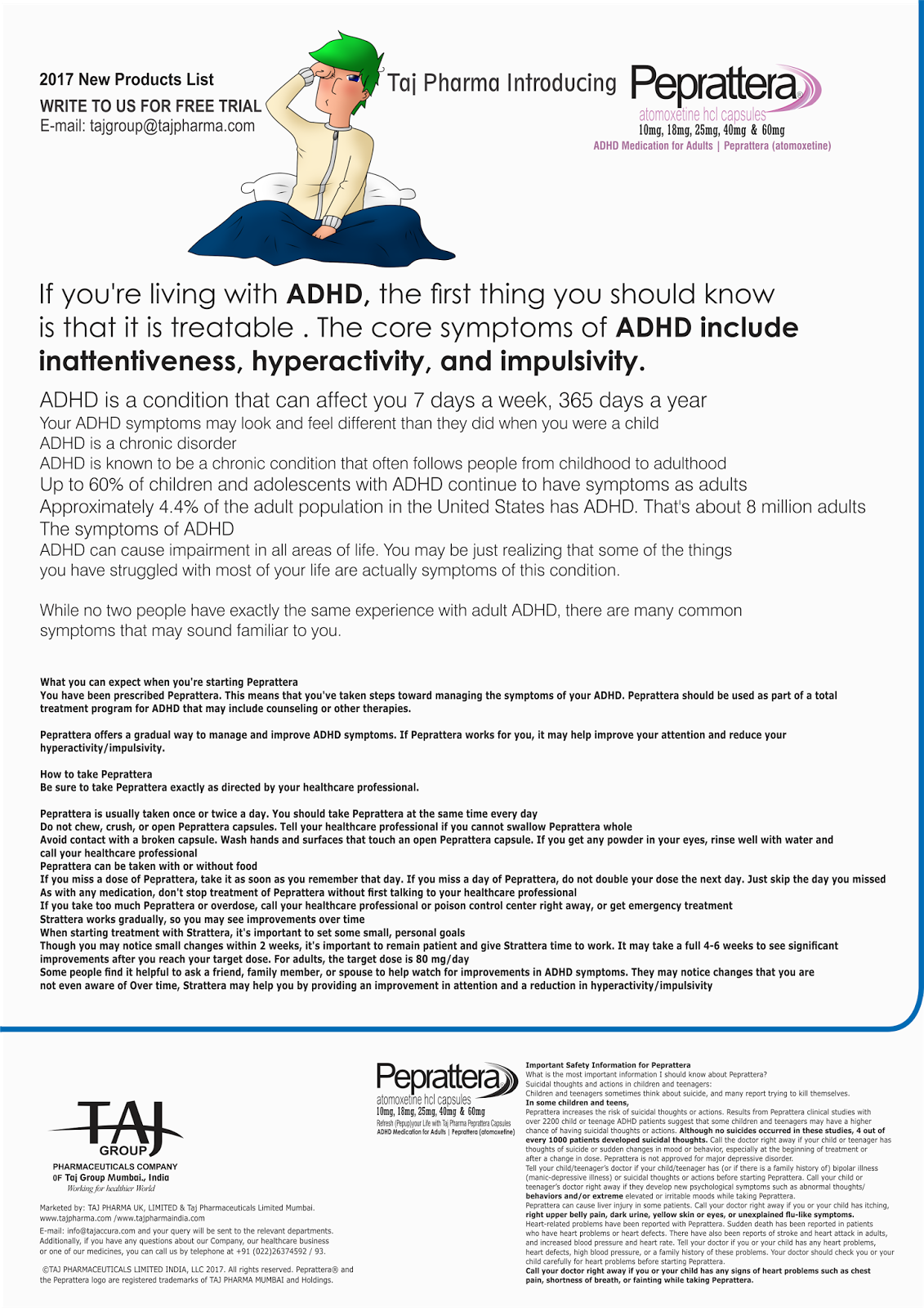 Atomoxetine HCl (10,18, 25 ,40 & 60 mg ) Capsule Taj Pharmaceuticals Ltd