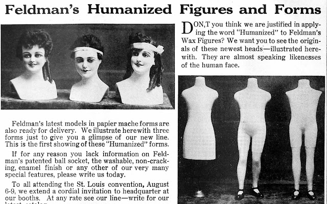 Feldman's humanized figures photgraph 1917 advertisement