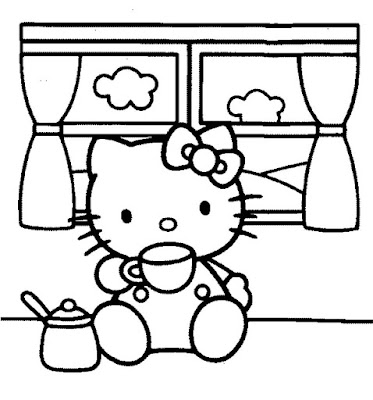 Hello Kitty dibujo para colorear bebiendo te