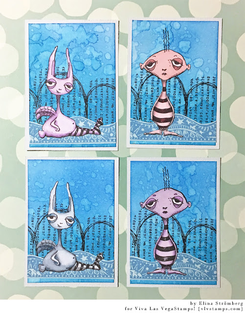 ATC cards. VivaLasVegaStamps. Leslie Wood