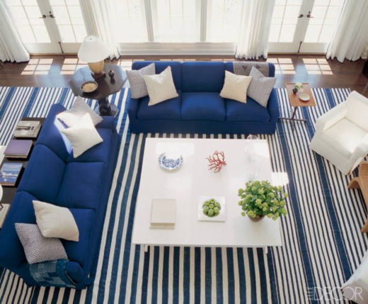 Blue Living Room Decor Idea with Sofa and Stripe Area Rug