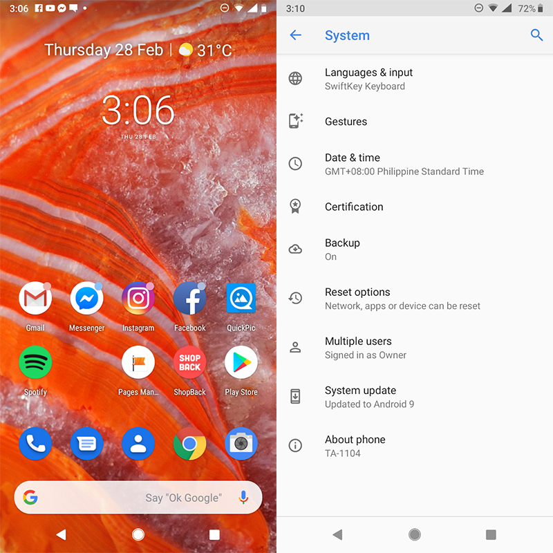 Android Pie update