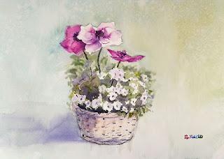 水彩画 アネモネ watercolor Anemone