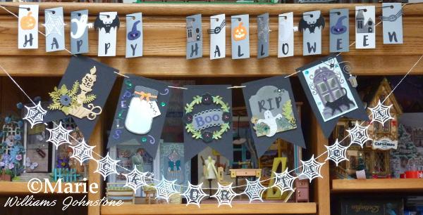 Trick or treat Happy Halloween banners garlands bunting spiderweb design