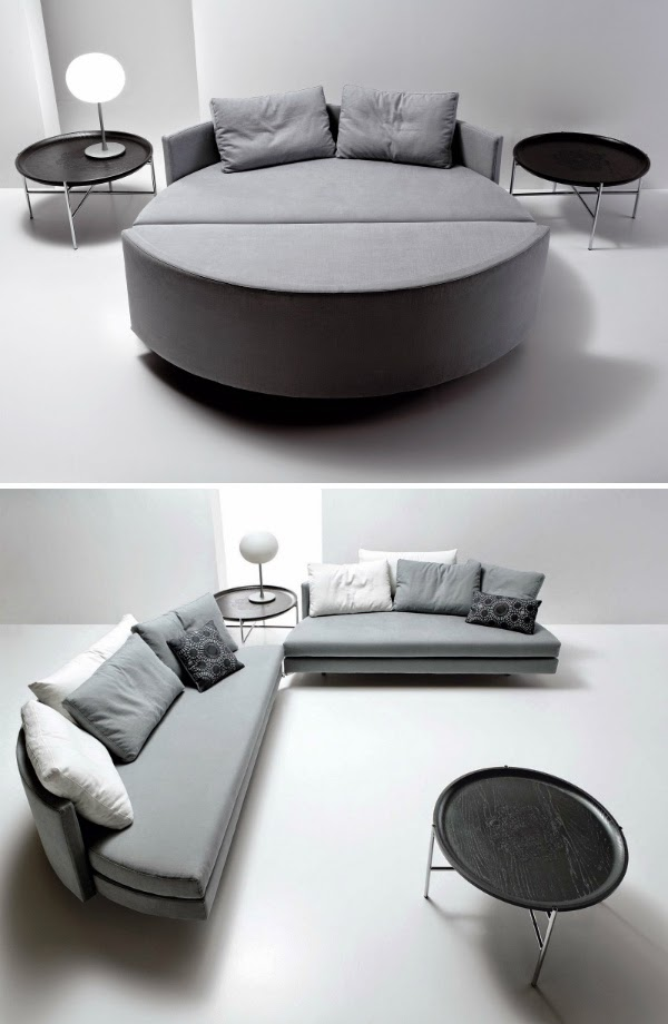 Creative Furniture Ideas Part - 36: The Union Of The Two Sofas Is Intuitive Since One Of The Two Elements Is  Provided With Small Wheels That Allows You To Rotate The Movable Module  Towards The ...