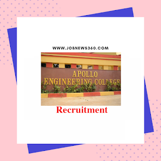 Apollo Engineering College Walk-IN 2019 for Assistant Professors posts