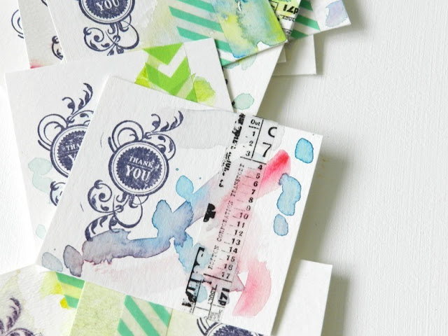 Watercolor and Washi Tape Cards