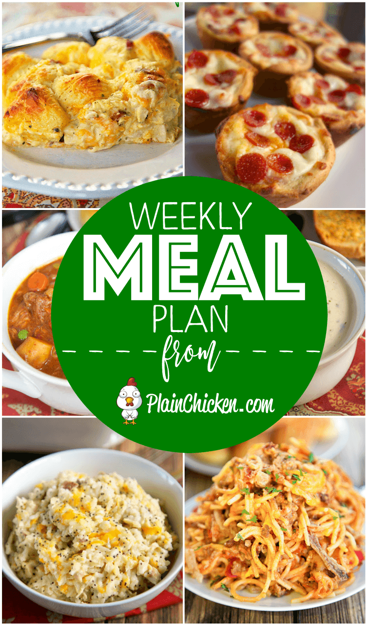 A quick and easy recipe for everyday of the week. Main dishes, side dishes and desserts! Something for everyone on this meal plan!