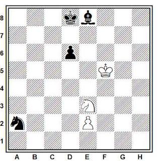 Estudio artístico de ajedrez compuesto por V. Neidze (Metsniereba da Teknika 1981)