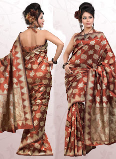 best indian golden banarasi silk saree for fair color women