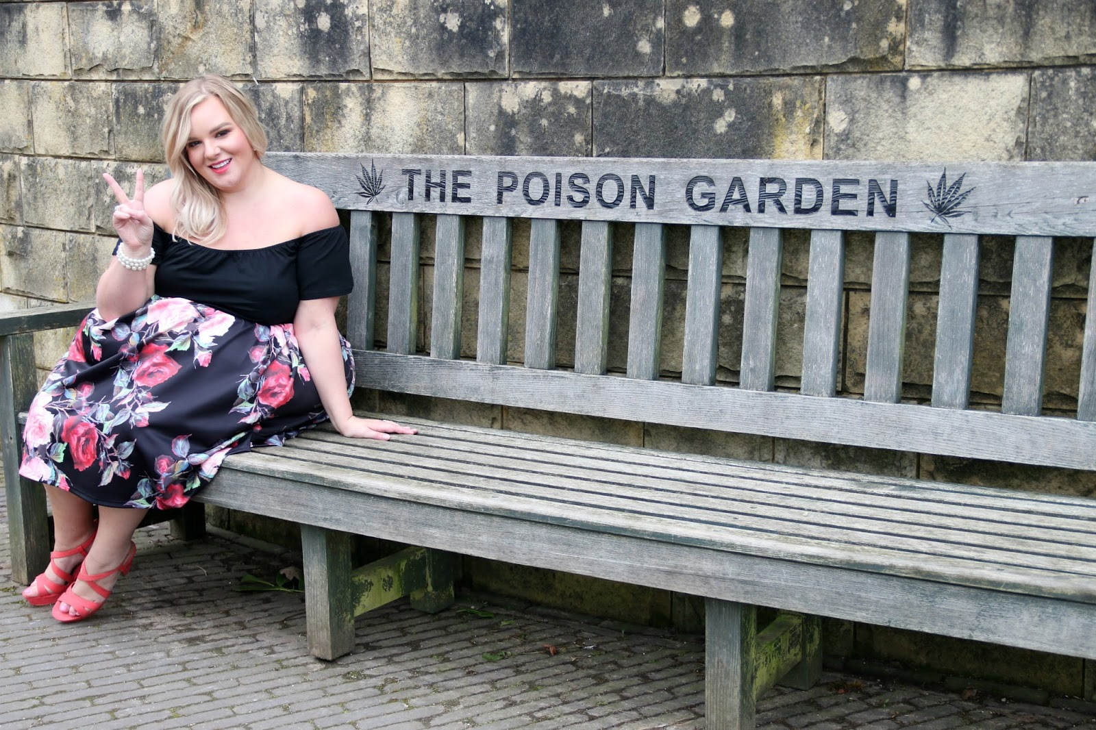 AX Paris Curve Rose Print Bardot Dress at Yours Clothing in the Poison Garden at The Alnwick Garden