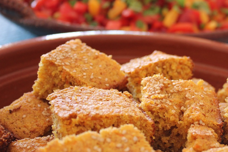 Carrot and Corn bread with salsa