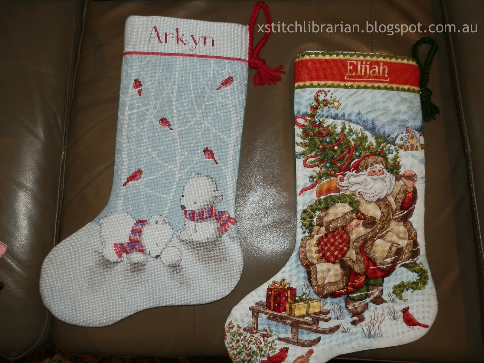 they are both beautifully lined and so they can be used when hanging on the mantle the snow bears stocking has a pale blue with white polka dots which - Cross Stitch Christmas Stockings