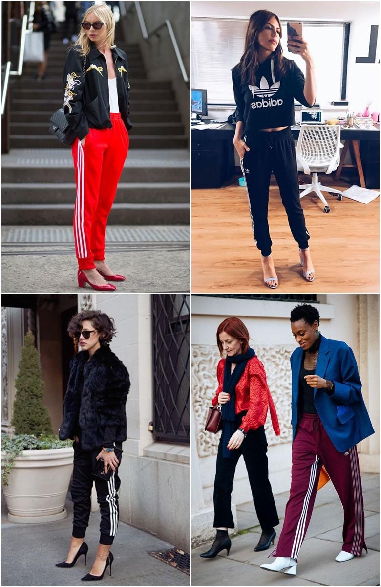 Look Fashion com Pegada Esporte calça esportiva adidas e salto
