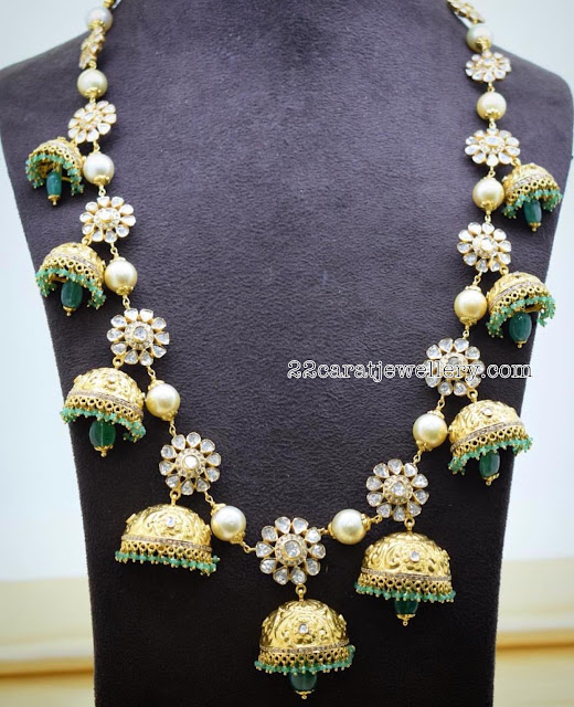 Jhumka Necklace with Flat Diamonds