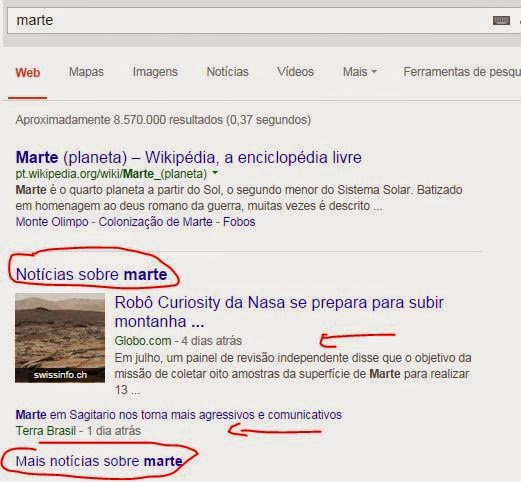 Exemplo de resultado de busca por notícias no Google