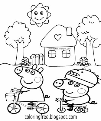 tree picture house printables simple peppa pig coloring pages for nursery kids art drawings to color