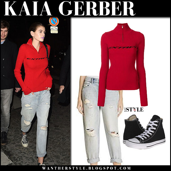 Kaia Gerber in red zip sweater misbhv, jeans and sneakers converse model street style january 24