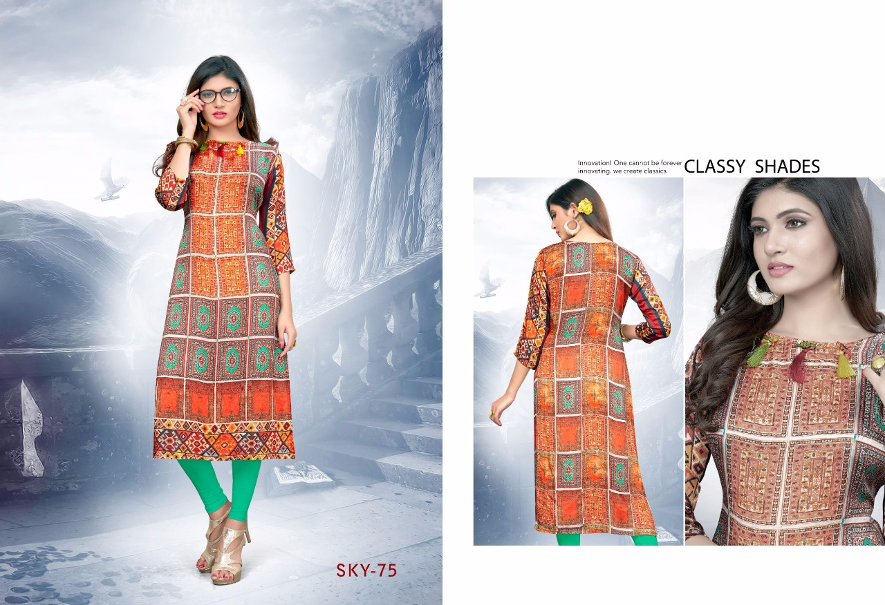 SKY-8-New Arrival Designer Pure Model Satin Kurti