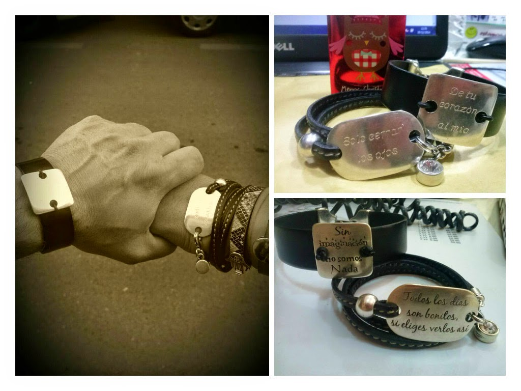 pulseras cuero con mensajes grabados