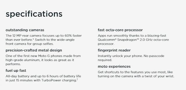 Motorola Moto G5 smartphone full Specs
